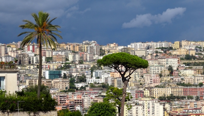 View from one high ridge to another in Naples, Italy