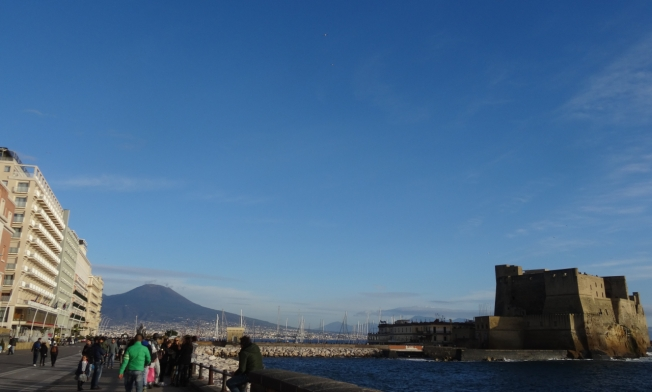 Vesuvius at the end of the Lungomare in Naples, Italy