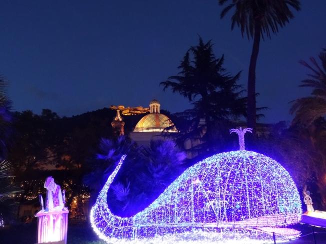 The Castello di Arechi in Salerno looks down on the Luci d'Artista