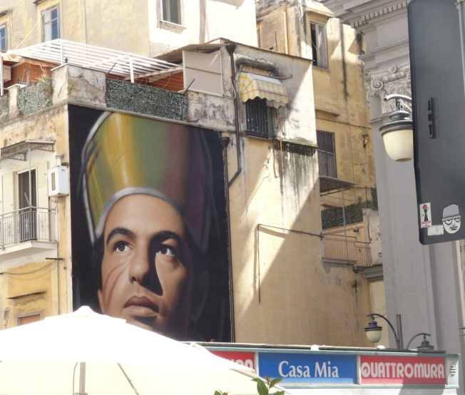 A mural of San Gennaro near the cathedral in Naples, Italy