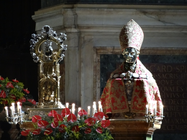 San Gennaro and his ostensorium in the cathedral of Naples, Italy on 19 September 2016