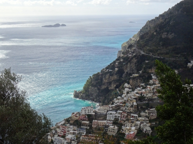 View from above Positano on the Amalfi Coast, Italy