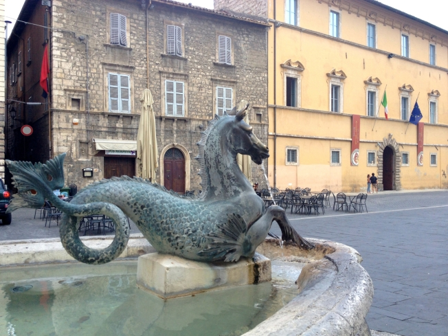 The medieval town of Ascoli Piceno on the edge of the Sibillini Mountains in Le Marche