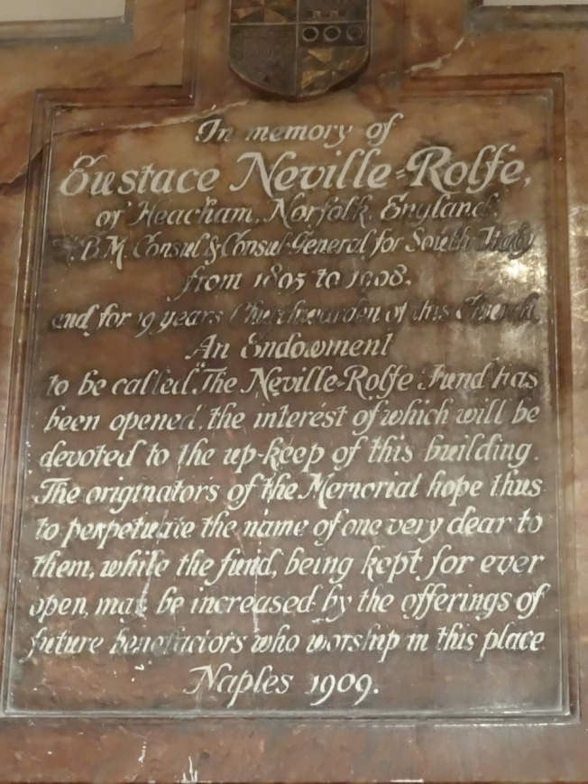 A plaque remembering a vital, early supporter of Christ Church in Naples, Italy