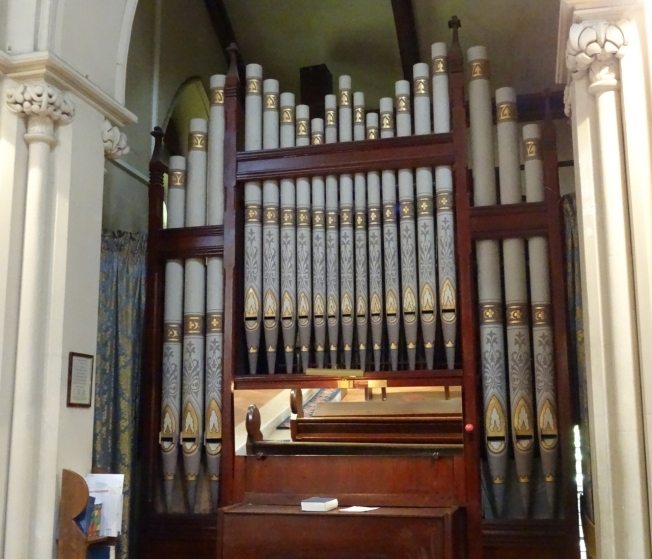 The organ in Christ Church in Naples, Italy. Retuned in 2016 thanks to funds given in memory of Michael Rae who loved the church and its music.