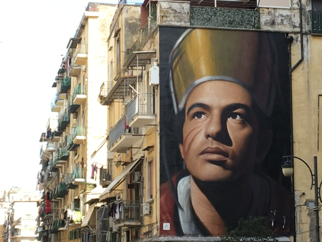 Mural of San Gennaro near the Duomo in Naples, Italy
