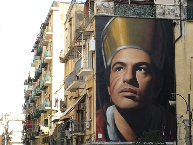 Mural of San Gennaro near the Duomo in Naples, Italy