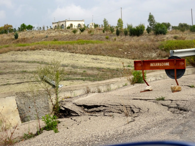 Road damage in Basilicata in Italy