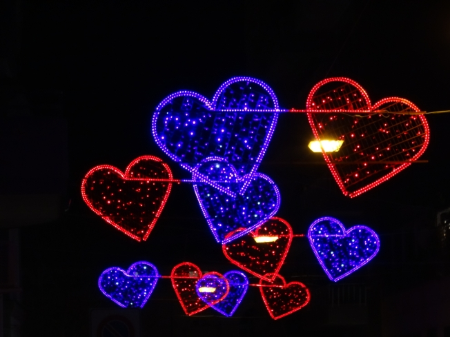 Decorations for Valentine's Day in Chiaia in Naples, Italy