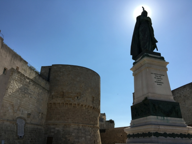 Statue commemorating the 800 martyrs on the seafront in Otranto, in Puglia, Italy