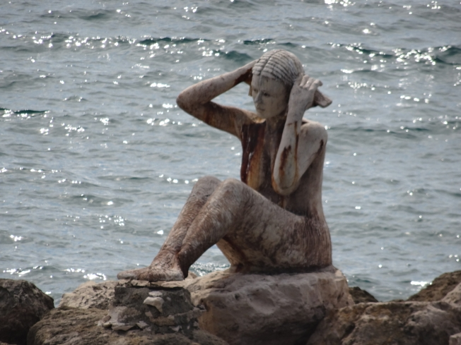 A stained siren in Taranto in Puglia, Italy
