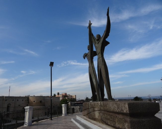 The statue in Taranto in Puglia, Italy dedicated to those who lost their lives in the Italian navy between 1940 - 1943