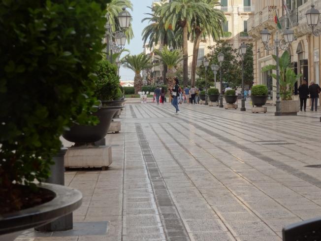 A street in new Taranto, in Puglia, Italy