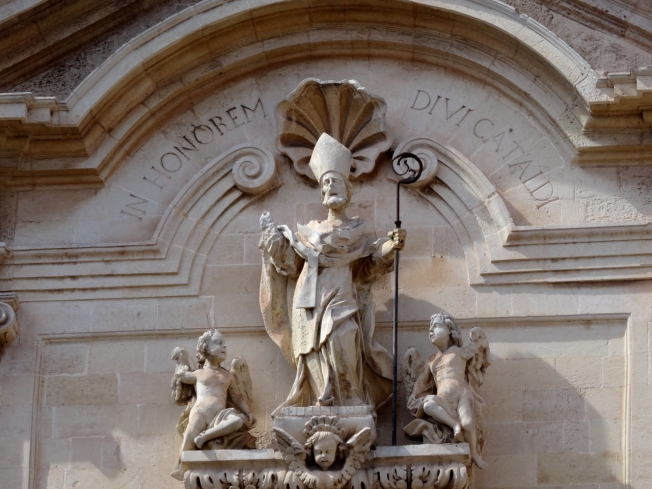 Decoration above the door into the Cathedral of San Cataldo in Taranto, in Puglia, Italy