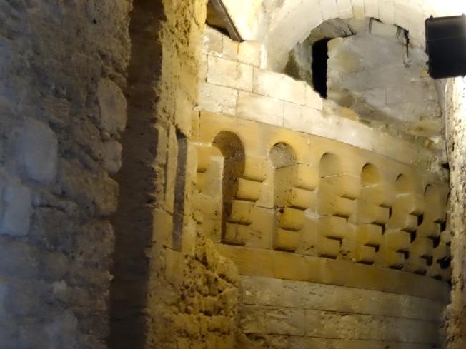 Old walls in the Aragonese Castle in Taranto, in Puglia, Italy