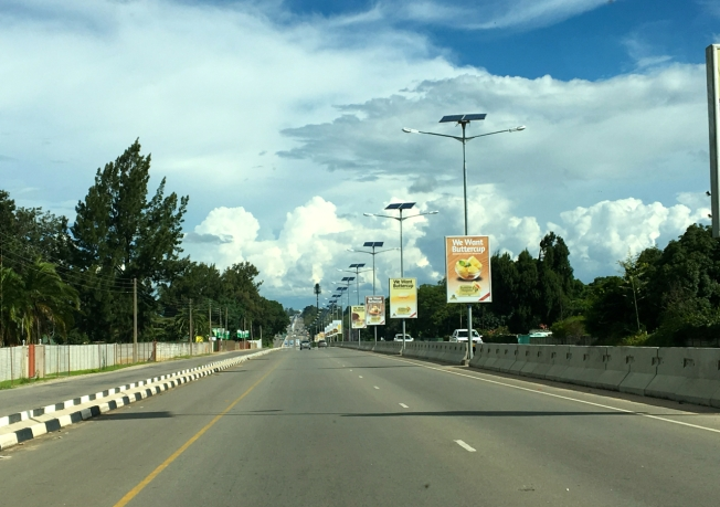 The airport road in Harare, Zimbabwe