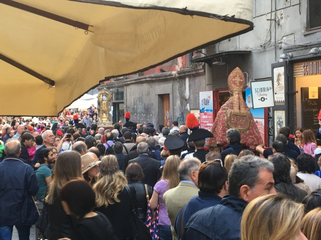 San Gennaro under escort through Naples, Italy