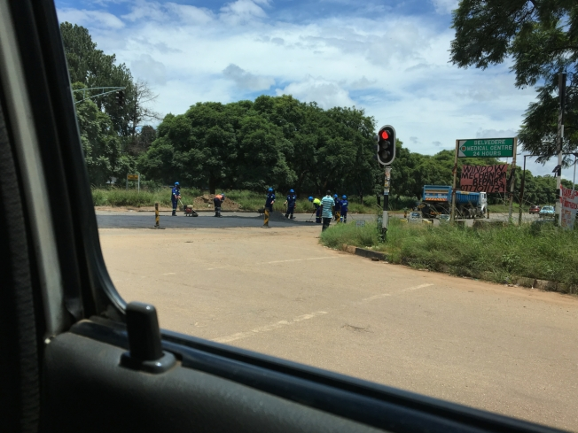 Potholes being repaired in Harare, Zimbabwe