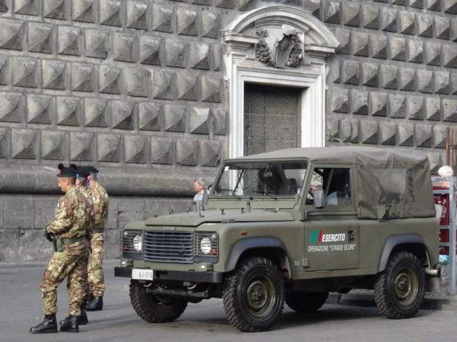 The military on duty in Naples, Italy