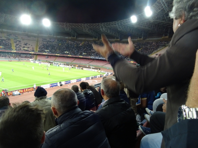 Football in the San Paolo Stadium in Naples, Italy