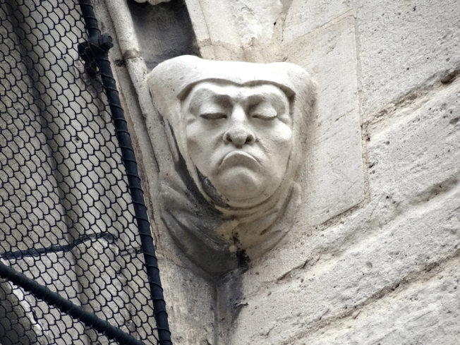 Detail from the outside of Notre Dame Cathedral in Paris, France