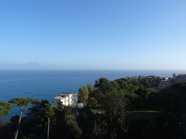 View over some of the beautiful villas of Posillipo in Naples, Italy