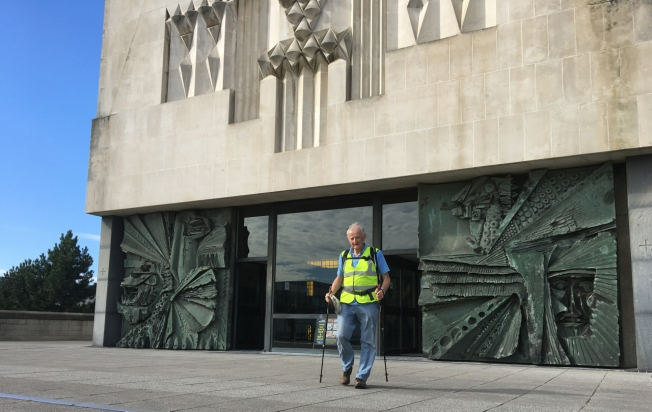 Tom Benyon OBE, founder of the charity ZANE, outside the Metropolitan Cathedral of Christ the King in Liverpool