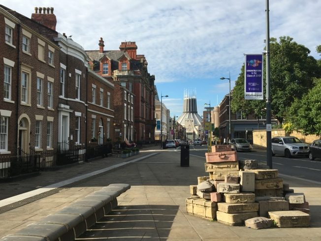 View down Hope Street towards the Metropolitan Cathedral of Christ the King in Liverpool