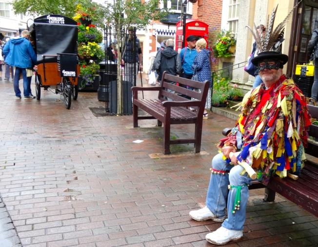 Man in 'tatters' at Folk Week, in Sidmouth, Devon.