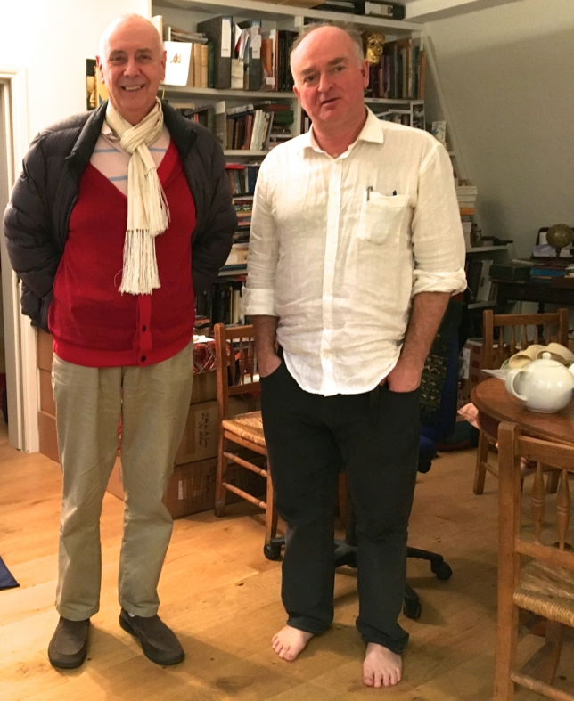 Barnaby Rogerson (in the white shirt) with Nigel Barley (author of the Innocent Anthropologist). The photograph was taken at the Eland Open Day in early December 2017.
