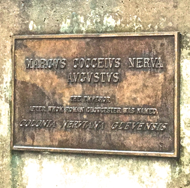 Plaque on a statue in Gloucester, England