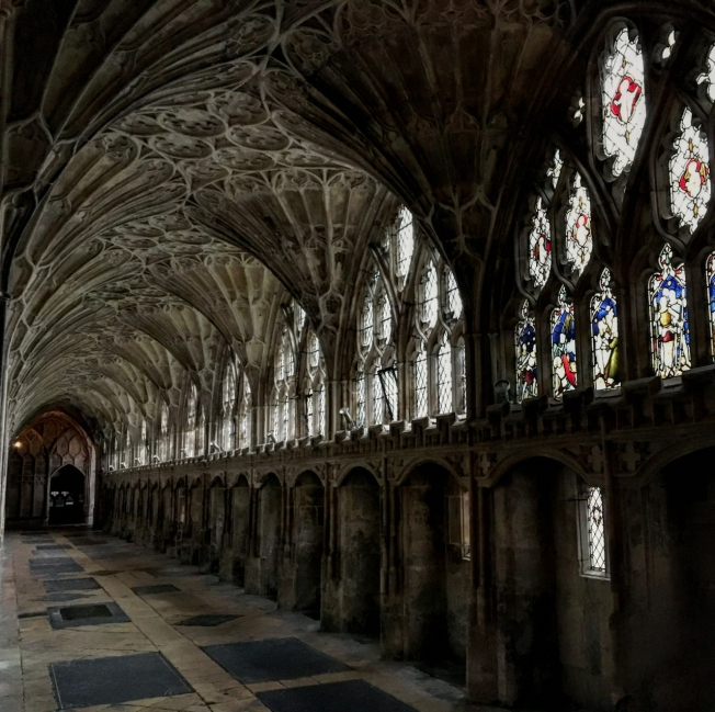 The famous cloisters in Gloucester Cathedral in England