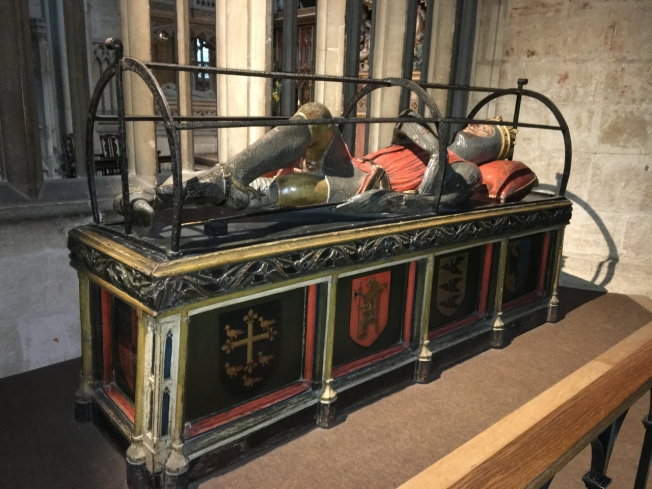 Gloucester Cathedral, England: the tomb of Robert, Duke of Normandy, the oldest son of William the Conqueror.