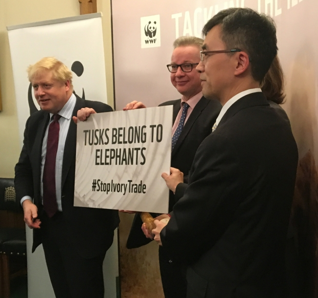 Chargés d'affaires of the Chinese Embassy, Minister Zhu Qin, Rt Hon Michael Gove MP Secretary of State for Environment, and Secretary of State for Foreign & Commonwealth Affairs, Rt Hon Boris Johnson MP