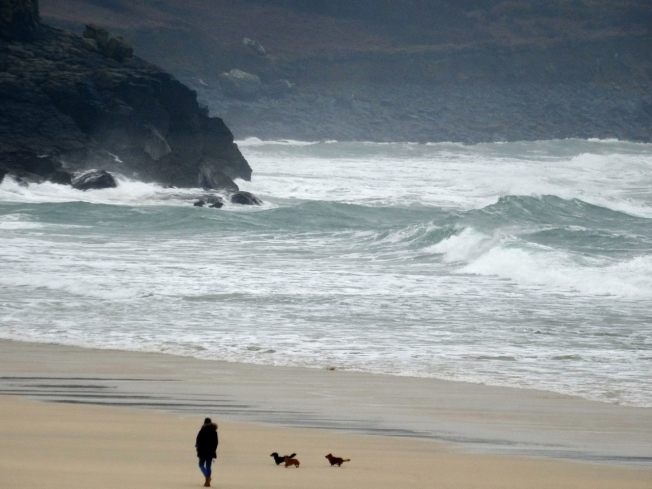 Porthmeor Beach in St Ives as the storms began to ease