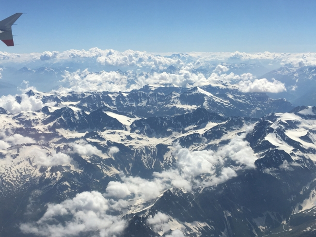 View of the Alps shortly before landing in Turin, Italy