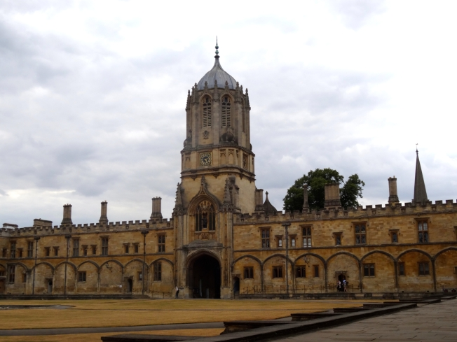 View of Tom Tower, across the usually green lawns of Christ Church College Oxford - 18 July 2018