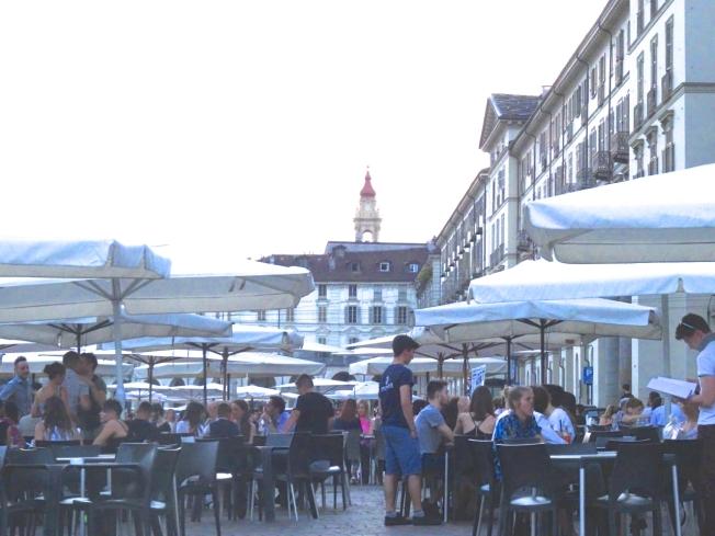 Evening in Piazza Vittorio Veneto in Turin, Italy