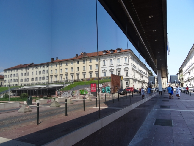 Reflection of the new skate park Valdo Fusi, in Turin, Italy