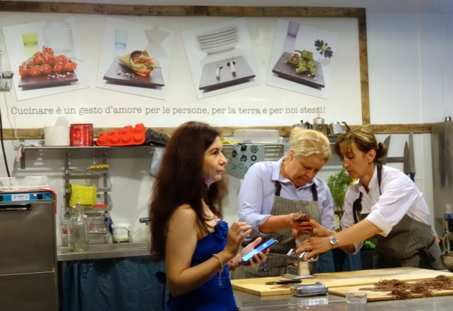 Making fresh, chocolate pasta at Qubì in Turin, Italy with Lucia Hannau recording the moment