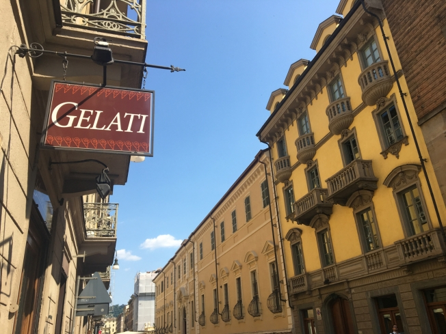 Turin, Italy: the sign outside 'L'Essenza del Gelato - Pierbruno Malata'