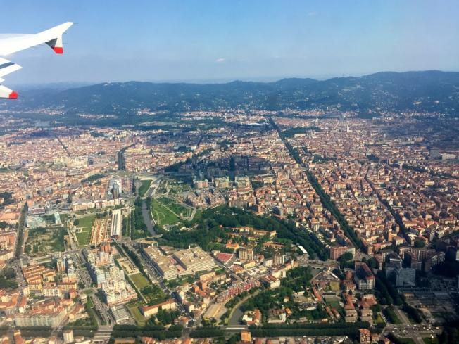 Flying into Turin, Italy