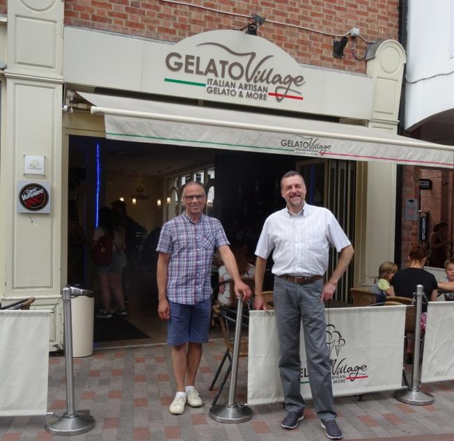 Antonio di Vecchi and Daniele Taverna - founders of Gelato Village in Leicester, England