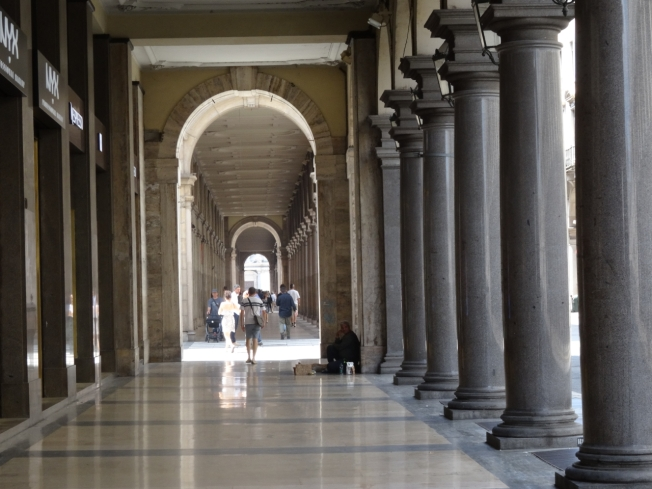 The colonnades along Via Roma in Turin, Italy