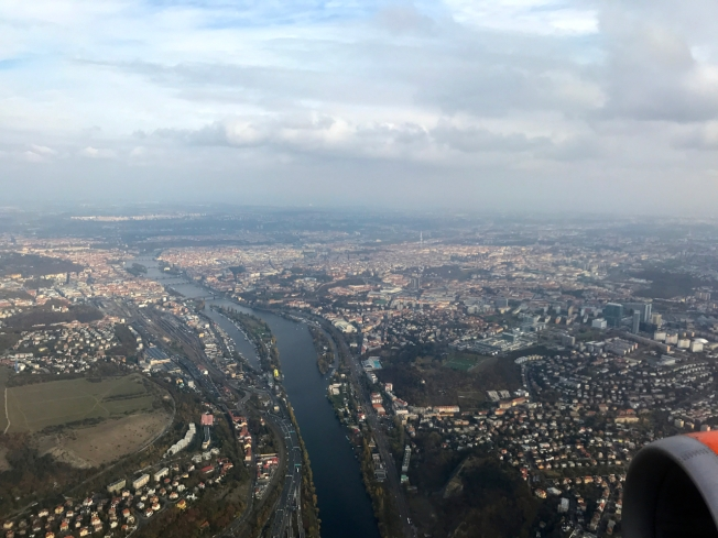 Flying into Prague over the Vltava River