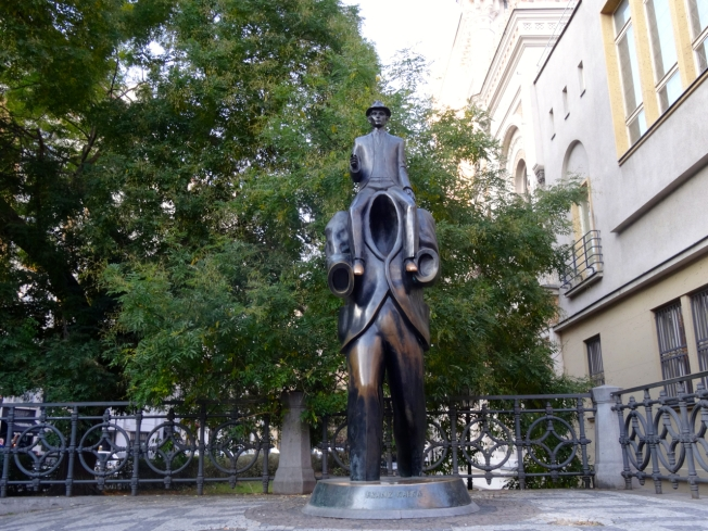 Jaroslav Rona's sculpture dedicated to Franz Kafka in Prague