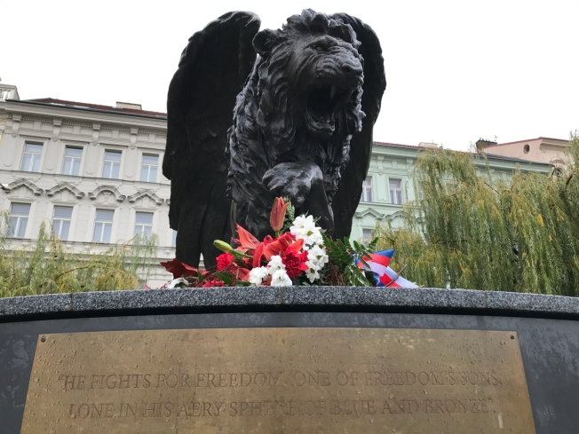 A gift from the British to commemorate the courage and contribution of the Czech and Slovak pilots who served in the British Royal Airforce in the Second World War - it was unveiled in 2014