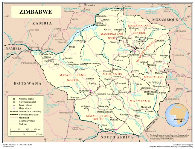My thanks to the United Nations Publication Board for permission to use this map of Zimbabwe, Map No. 4210 Rev.2, December 2017, UNITED NATIONS